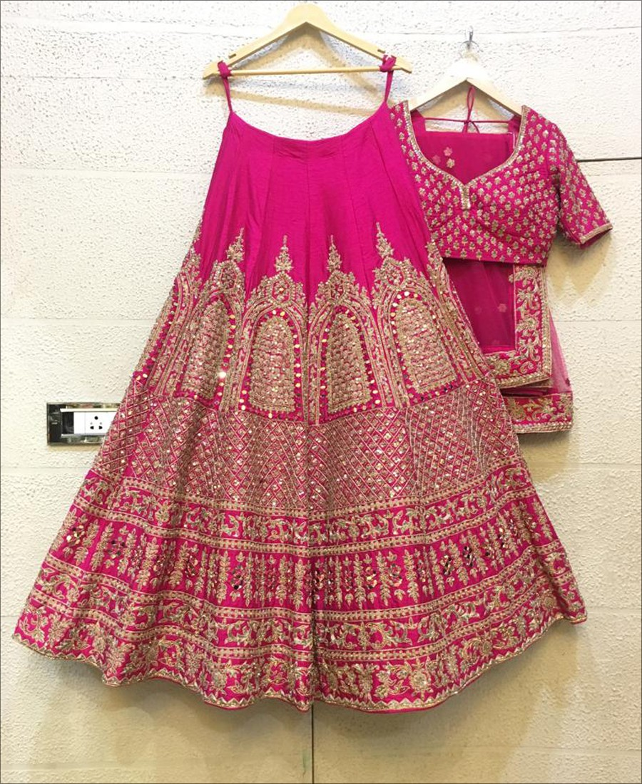 RE - Party wear zari embroidered Pink Lehenga Choli