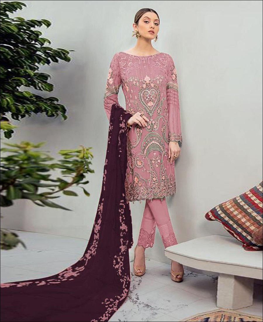 RF - Glorious Pink Foux Georgette Embroidered Pakistani Straight Suit