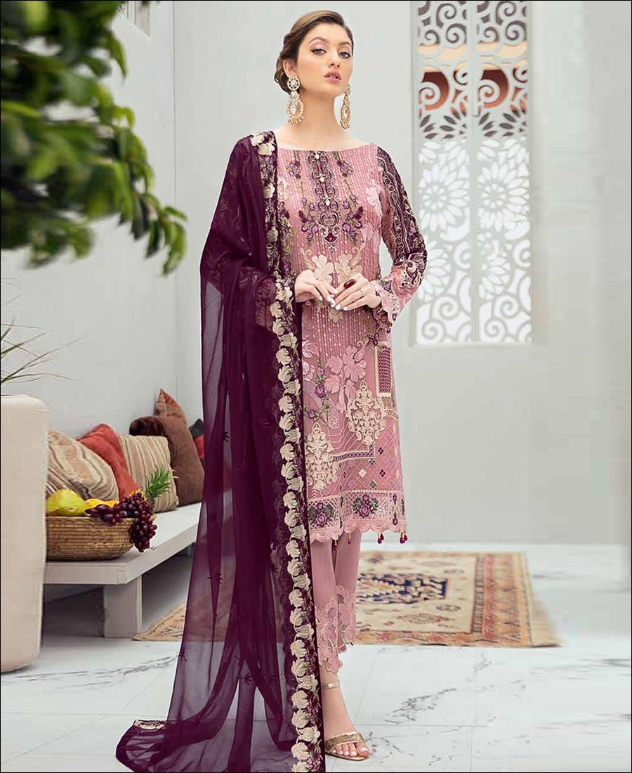 RF - Glorious Pink Butterfly Net Embroidered Pakistani Straight Suit