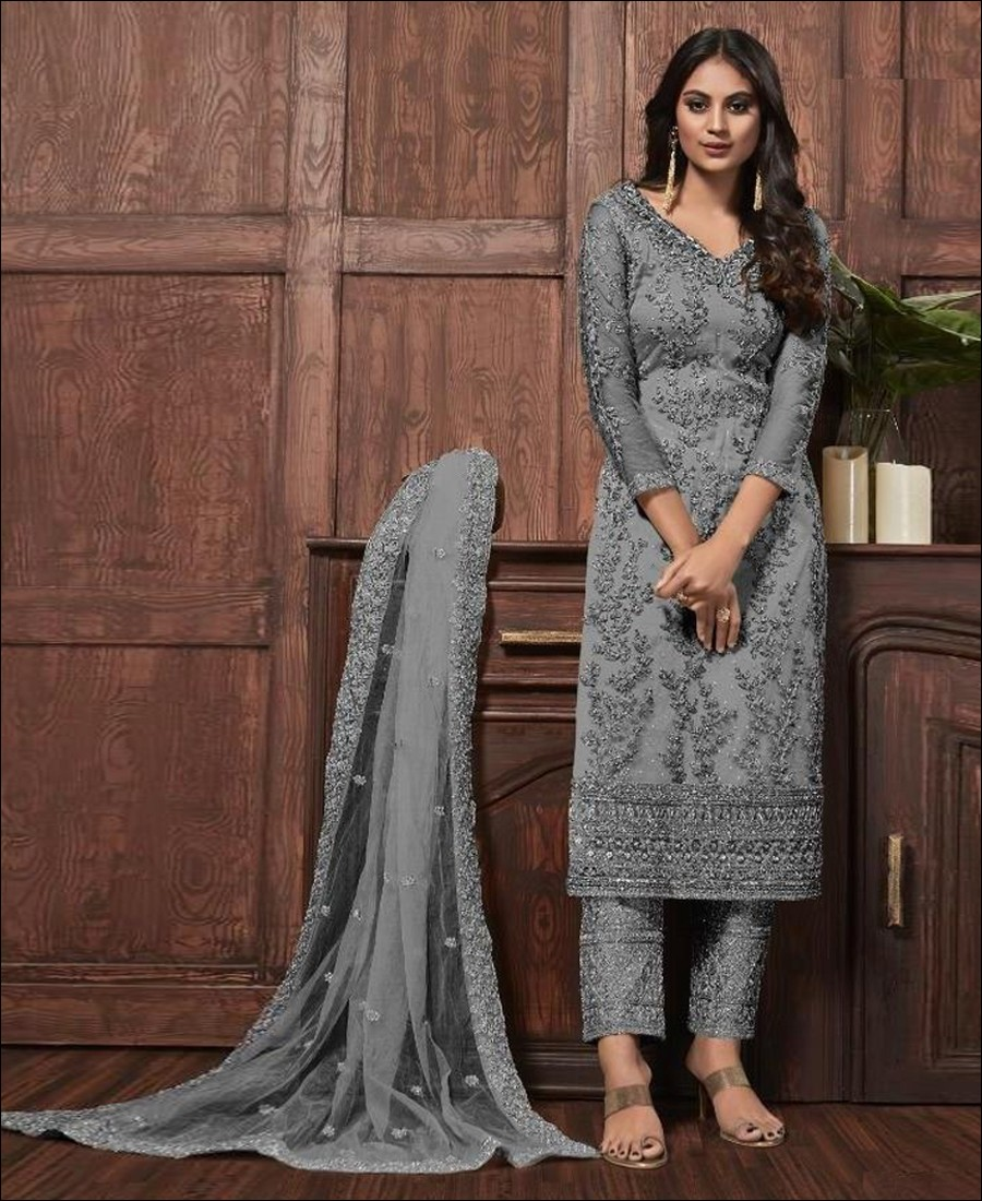 RF - Lovely Grey Butterfly Net Embroidered Pakistani Straight Suit