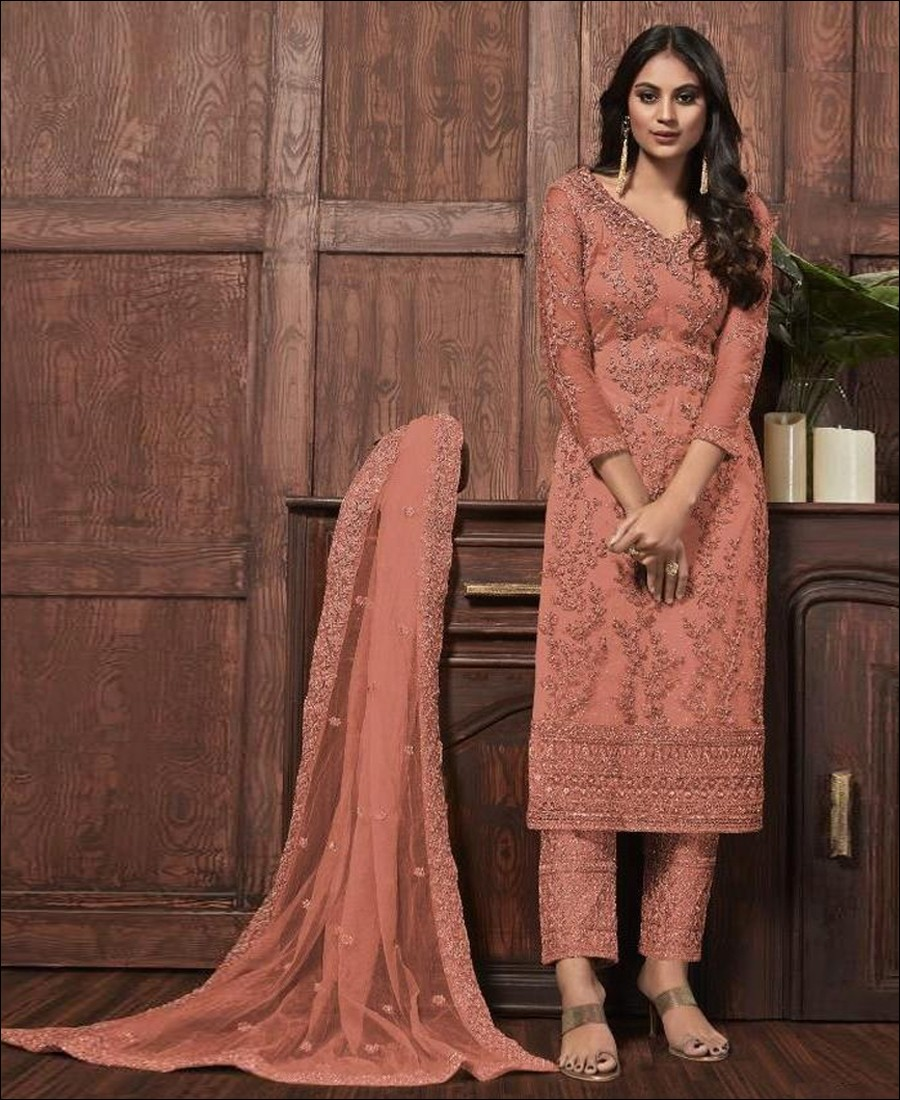 RF - Lovely Orange Butterfly Net Embroidered Pakistani Straight Suit