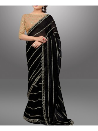 RE - Bollywood style black bemberg georgette sequence work saree