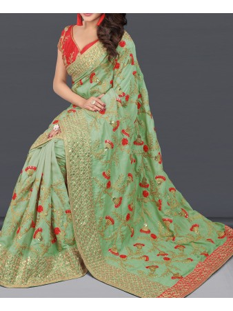 VF - Embellished Olive green two tone vichitra silk saree