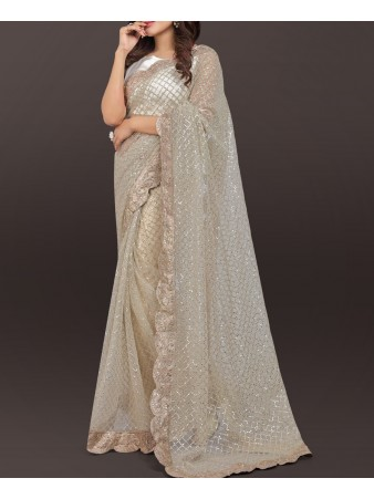 VF - Diva white sequence embroidered saree