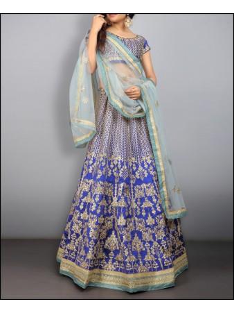 VF - Embroidered Blue taffeta silk lehenga choli