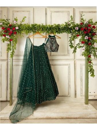 RE - Bottle green designer ruffle Lehenga Choli