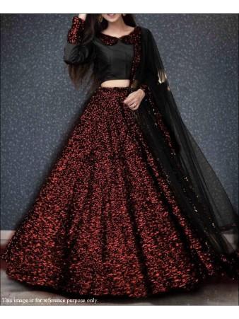 RE - Red Colored Velvet Sequence Work Lehenga