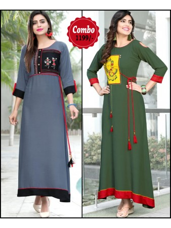 RE - Attractive Grey and Green color rayon print stitched kurti - Pack of 2