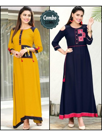 RE - Attractive yellow and navy blue color rayon print stitched kurti - Pack of 2