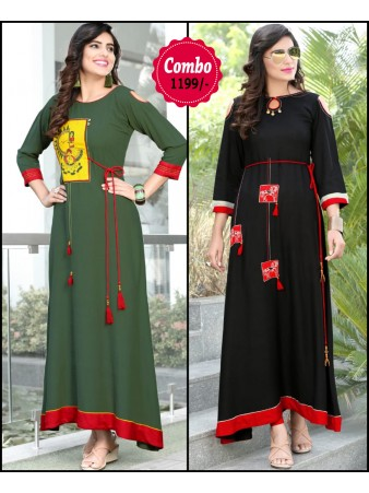 RE - Elegant green and black color rayon print stitched kurti - Pack of 2