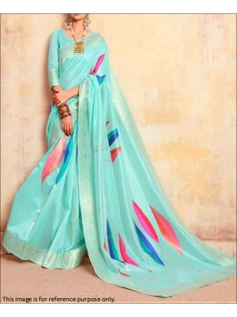 RE - Sky Blue Coloured Handloom Silk Saree