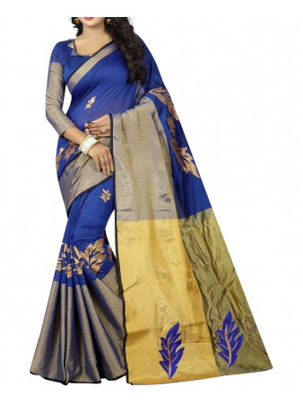 BF - Blue Embroidery Poly cotton saree with blouse