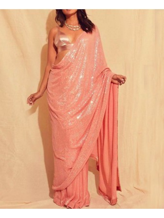 PF - Beautiful Peach Premium Georgette Full Sequence work with Plain blouse