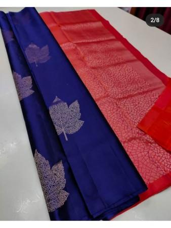 CM- Blue color Soft Lichi Silk saree