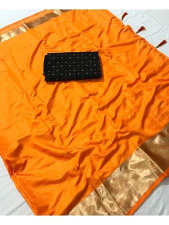 FC - Elegant Mustered Sana silk Golden Zari border work Saree