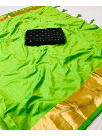 FC - Elegant Parrot Sana silk Golden Zari border work Saree