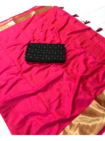 FC - Pleasing Pink Sana silk Golden Zari border work Saree