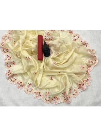 RL- Cream color Organza Silk saree