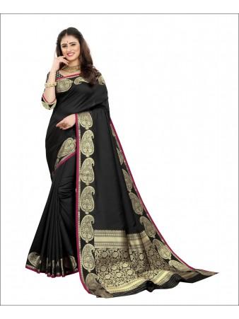 RL- Black color Pure Silk saree