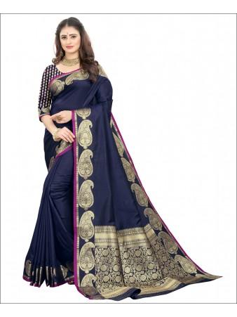 RL- Blue color Pure Silk saree