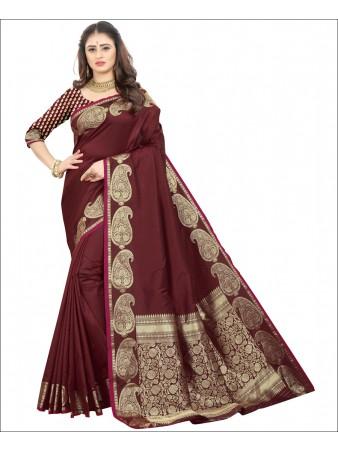 RL- Brown color Pure Silk saree