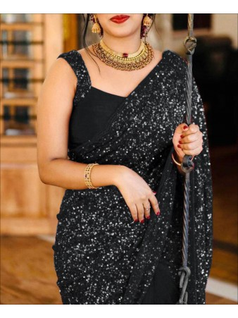 RE - Black Colored Sequence Work Saree