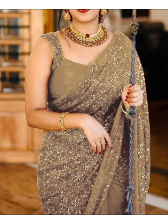RE - Gold Colored Sequence Work Saree