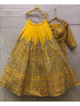 RE - Party wear zari embroidered yellow Lehenga Choli