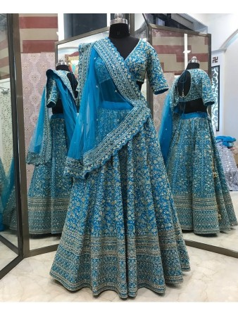 RE - Embroidered Cording Sequence Blue Lehenga Choli