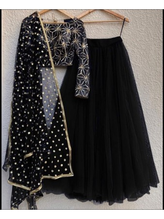 RE - Black Colored Mono Net Lehenga Choli