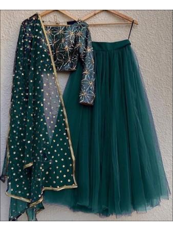 RE - Green Colored Mono Net Lehenga Choli