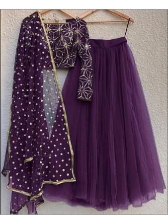 RE - Purple Colored Mono Net Lehenga Choli
