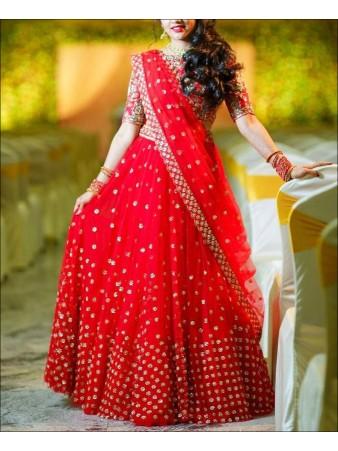 RE - Red Colored Mono Net  Lehenga Choli
