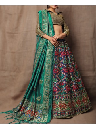 VF - Evergreen Jacquard Silk Multi Color Lehenga Choli