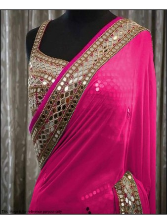 BF - Awesome Pink Georgette Real Mirror Work saree with blouse