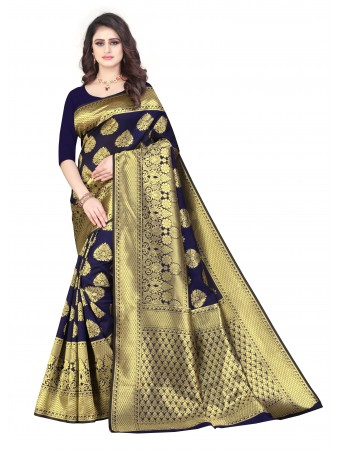 RL- Navy Blue color Pure Silk saree