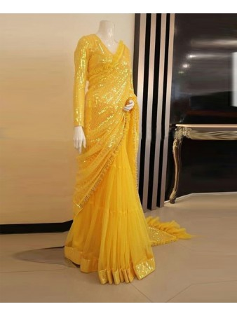 RE - Net Embroidered Yellow Saree