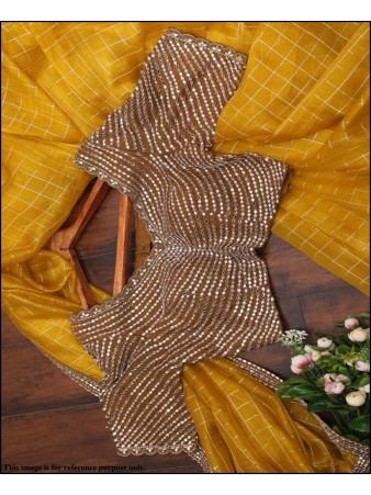 PF - Classic yellow chanderi checks jacquard saree with mirror work blouse