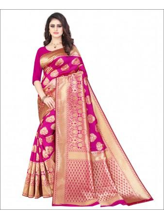 RL- Pink color Pure Silk saree