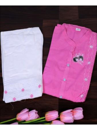 Pink Cotton Embroidery Work Kurti Set