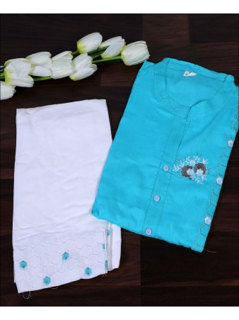 Turquoise Cotton Embroidery Work Kurti Set
