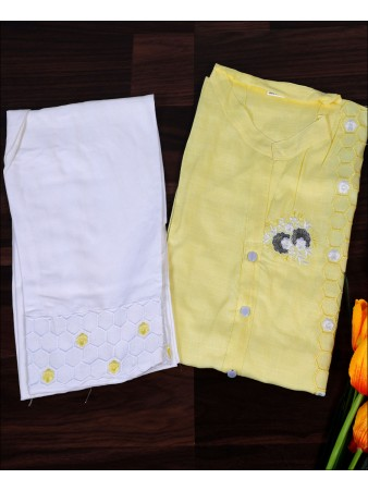 Yellow Cotton Embroidery Work Kurti Set