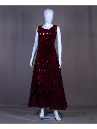 Maroon Velvet Sequence Embroidered Work Gown