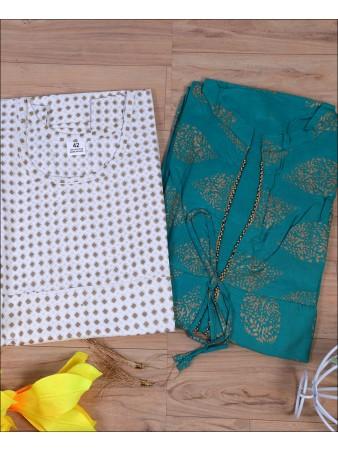 Block Print Teal Blue color Rayon Kurti Set