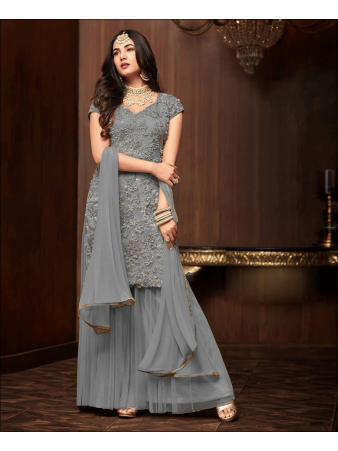 RF - Grey Soft Net Pakistani Sharara Style Suit