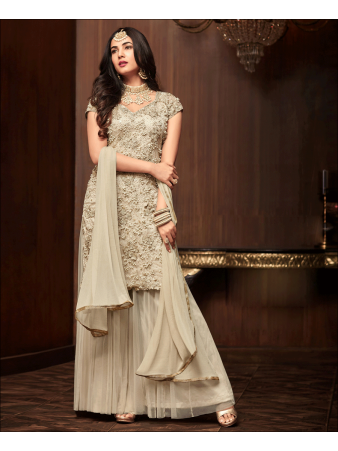 RF - Off White Soft Net Pakistani Sharara Style Suit
