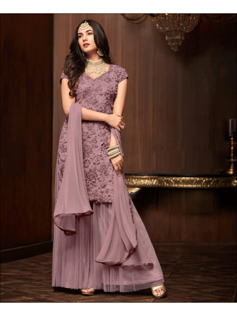 RF - Purple Soft Net Pakistani Sharara Style Suit