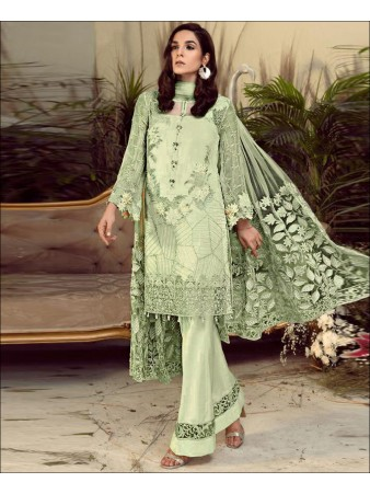 RF - Elegant Green Foux Georgette Chain Stiched Embroidered Pakistani Straight Suit