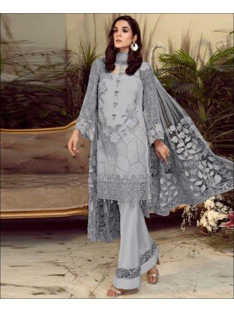 RF - Elegant Grey Foux Georgette Chain Stiched Embroidered Pakistani Straight Suit