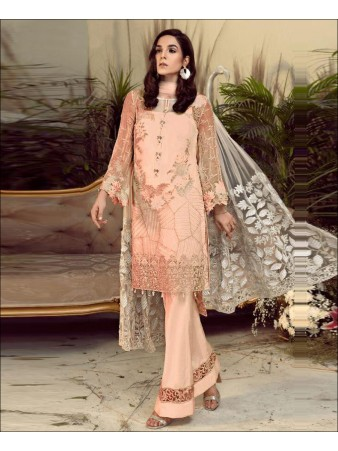 RF - Elegant Peach Foux Georgette Chain Stiched Embroidered Pakistani Straight Suit